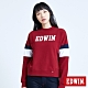EDWIN 塗鴉系列 運動風配色厚長袖T恤-女-朱紅色 product thumbnail 1