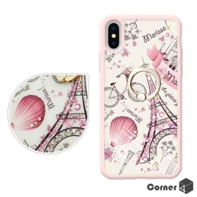 Corner4 iPhone XS / X 5.8吋奧地利彩鑽雙料指環手機殼-艾菲爾鐵塔