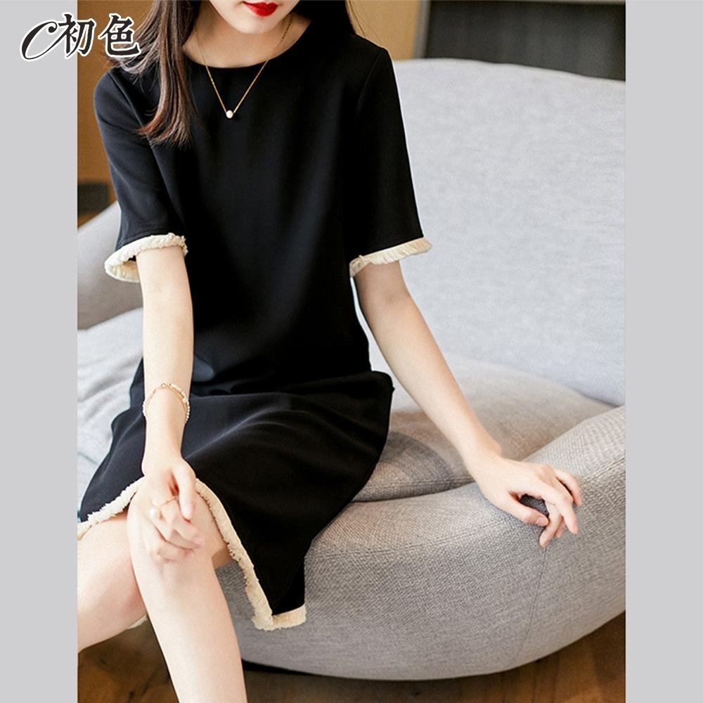 初色  赫本風流蘇連身裙-黑色-(M-2XL可選)