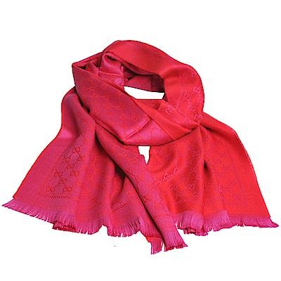 GUCCI SC NEW STEN GG LOGO羊毛雙面寬版披肩/圍巾(紅/桃紅)