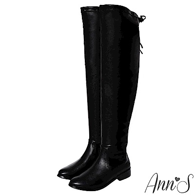 Ann'S微性感棉花糖-羊紋平底彈力側拉鍊過膝長靴-黑
