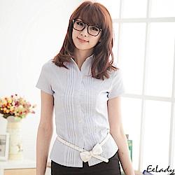 OL雙排壓摺短袖襯衫-EELADY