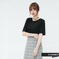 H:CONNECT 韓國品牌 女裝-素面圓領T-shirt-黑