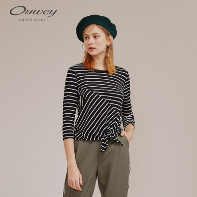 OUWEY歐薇 簡約不規則綁帶條紋上衣(黑)