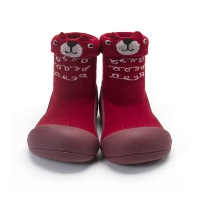 韓國Attipas 快樂學步鞋A19BRW-酒紅小熊