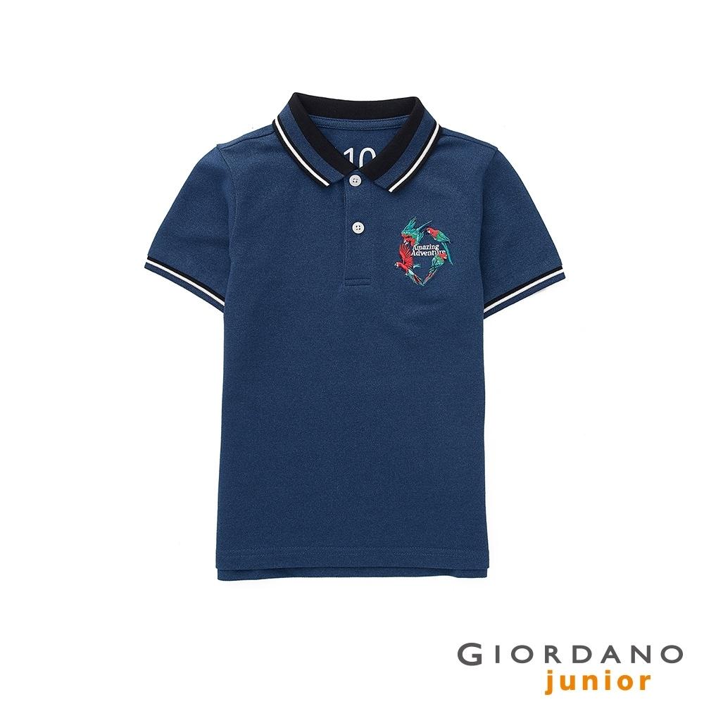 GIORDANO 童裝大自然冒險刺繡彈性萊卡POLO衫 - 03 雪花深鯨魚藍