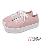TTSNAP休閒鞋-MIT簡約綁帶輕量真皮厚底鞋 粉