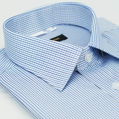 金‧安德森 藍色格紋窄版短袖襯衫fast
