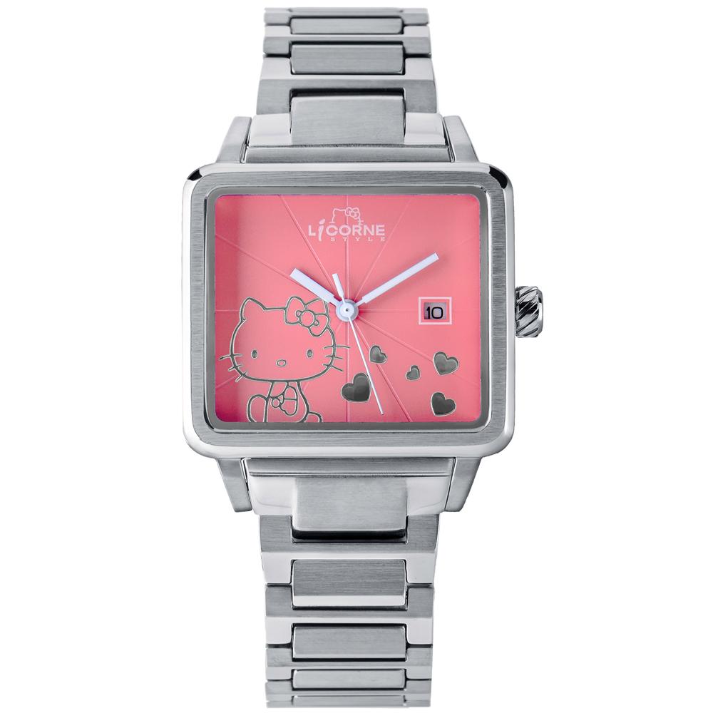 LICORNE 力抗+HELLO KITTY 聯名俏麗手錶 - 粉/34mm