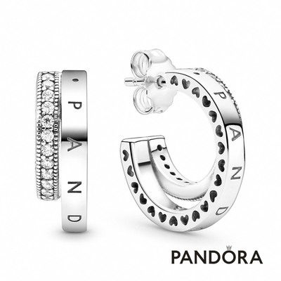 【Pandora官方直營】密鑲寶石雙耳環圈