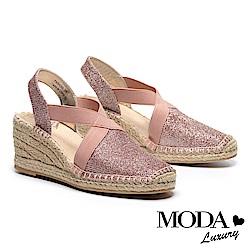 涼鞋 MODA Luxury 閃亮渡假風交叉帶草編厚底楔型涼鞋-粉