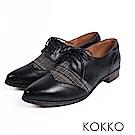 KOKKO -英式伯爵格紋毛呢經典牛津鞋-雋永黑