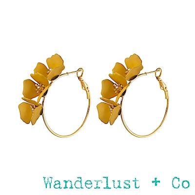 Wanderlust+Co 花草圓圈耳環 - 俏皮黃