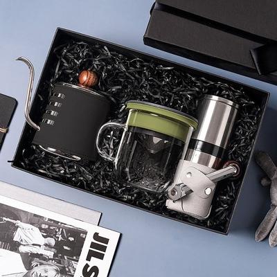 【PO:Selected】丹麥手沖咖啡三件禮盒組(咖啡壺-黑/玻璃杯350ml-黑綠/咖啡磨2.0)