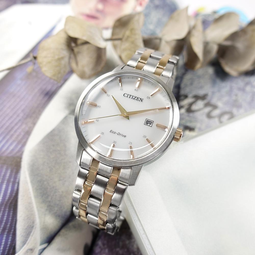 CITIZEN 光動能 簡約 日期 礦石強化玻璃 不鏽鋼手錶-銀白x鍍香檳金/40mm