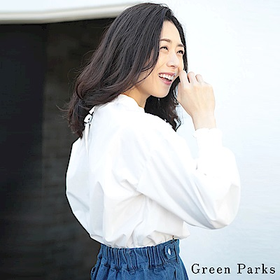 Green Parks 背後綁帶抓皺襯衫上衣