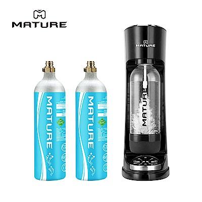 MATURE美萃 CRAZY氣泡水機-黑色 (680g氣瓶2隻)
