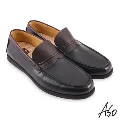 A.S.O  3D超動能刷色工藝樂福休閒鞋-黑