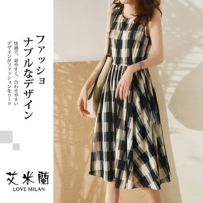 艾米蘭-韓版甜美圓領格紋無袖造型洋裝-格紋(M-XL)