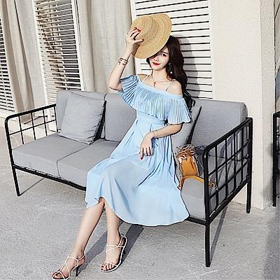 DABI 韓國風一字領名媛雪紡長裙壓褶吊帶短袖洋裝