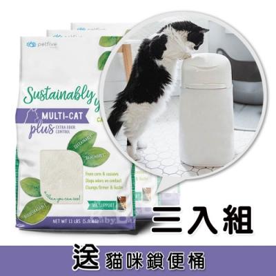 (送鎖便桶)美國善地球 玉米凝結貓砂 貓家庭除臭強化版13LB紫袋 (3入組)