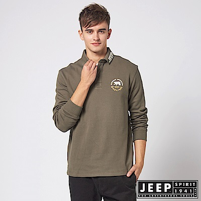 JEEP 潮男品牌LOGO領長袖POLO衫 -橄欖綠