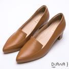 DIANA 漫步雲端厚切焦糖美人款-真皮素色金屬飾釦樂福跟鞋-棕