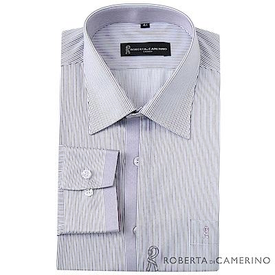 ROBERTA諾貝達 台灣製 商務型男 合身版 條紋長袖襯衫 紫色
