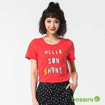 bossini女裝-印花短袖T恤57茄紅