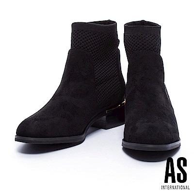 短靴 AS 針織襪套拼接俐落輪廓設計麂布粗低跟短靴-黑