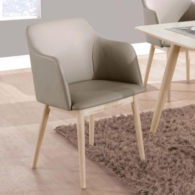 H&D 羅比洗白淺咖啡皮餐椅