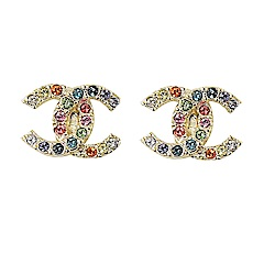CHANEL 經典雙小C LOGO彩色水鑽珠珠裝飾耳環(香檳金)