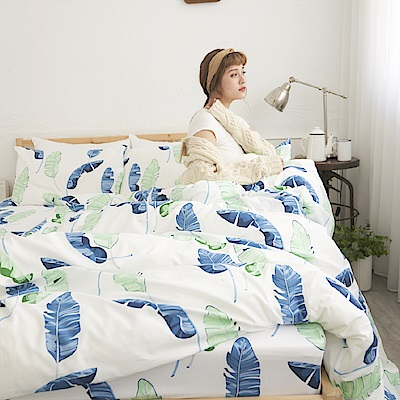 BUHO 柔絲絨雙人加大四件式舖棉兩用被床包組(深氧之夏)