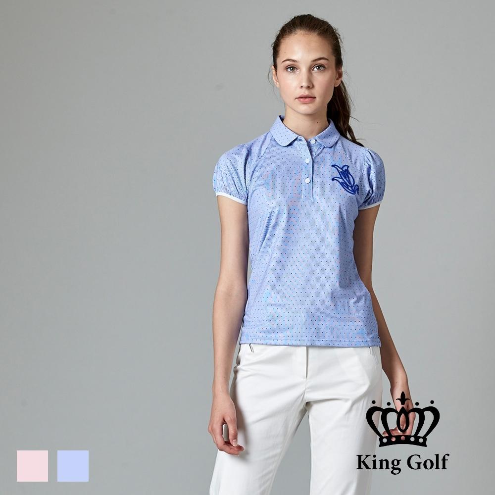 【KING GOLF】KING GOLF花朵刺繡水玉點點公主袖造型POLO衫-藍