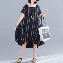棉麻不規則條紋繫帶長裙M-2XL(共三色)-Keer