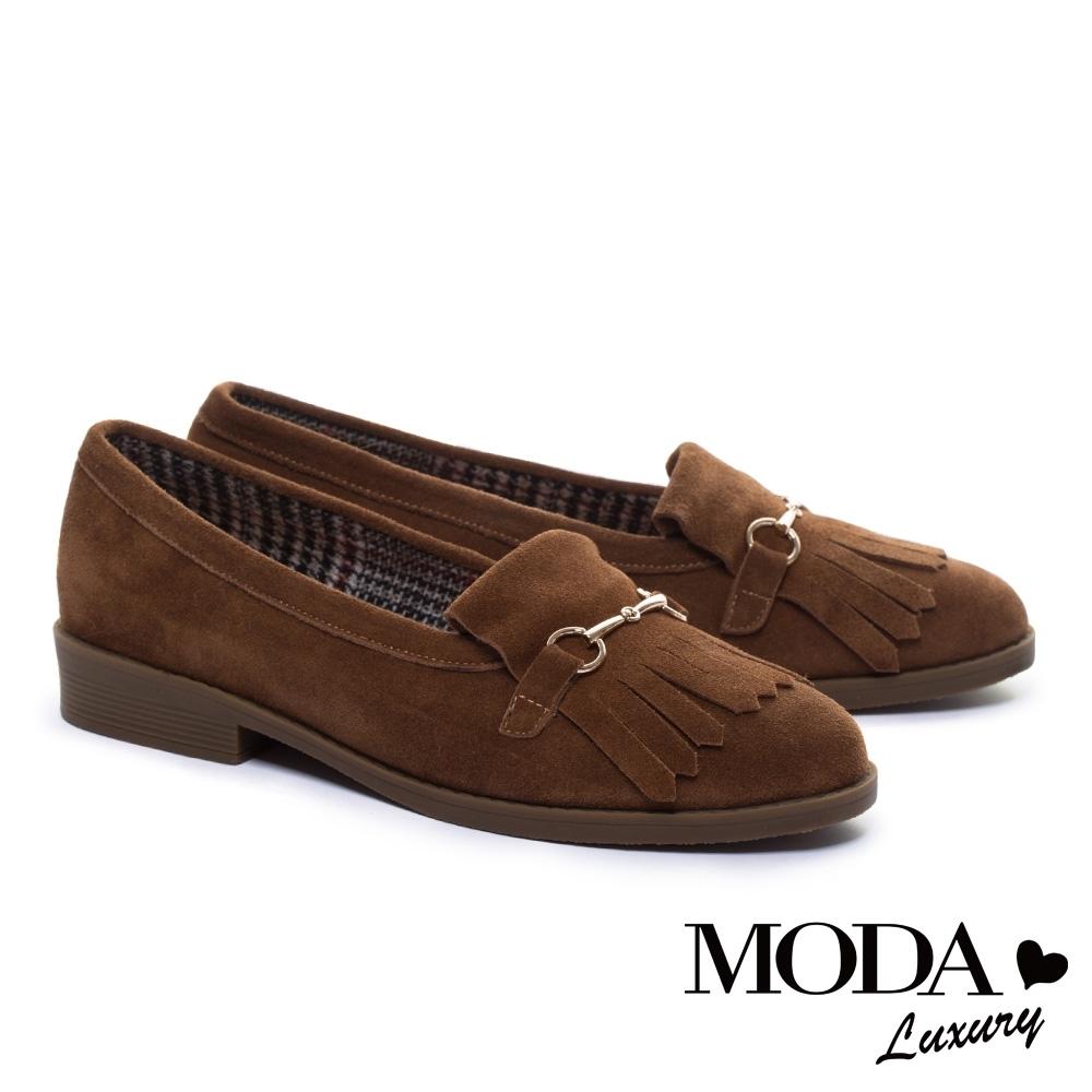 跟鞋 MODA Luxury 復古流蘇金屬釦麂皮樂福低跟鞋-咖