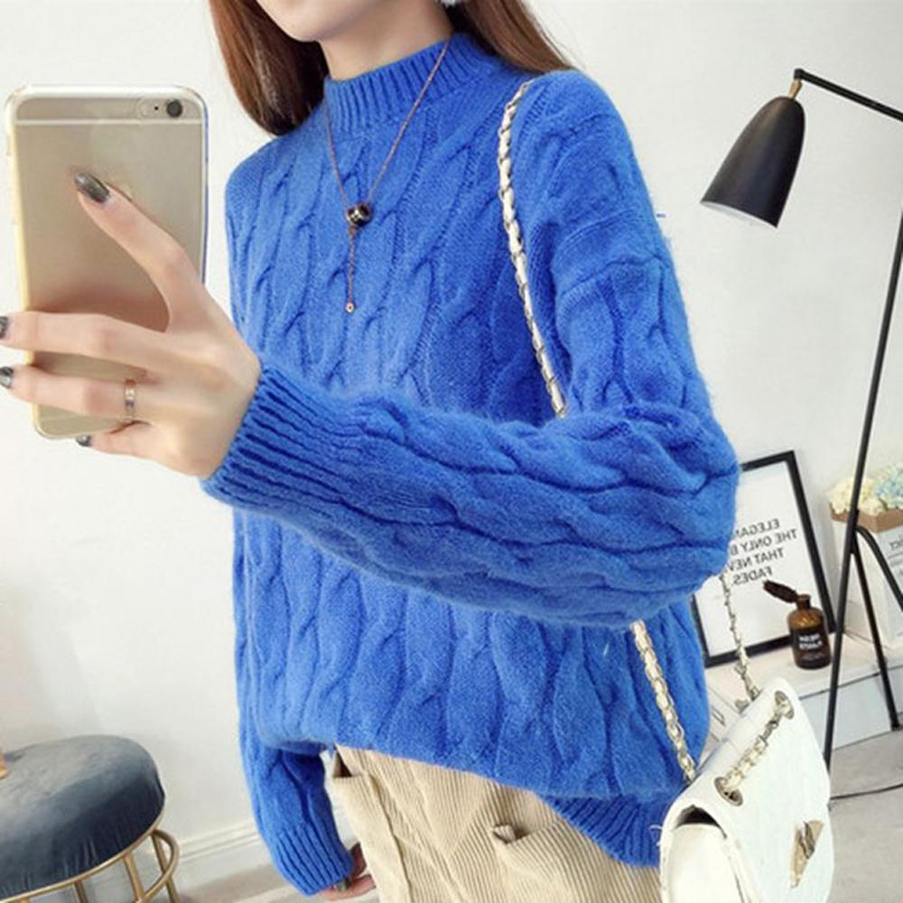 La Belleza立領素色滿版包心紗麻花針織毛衣