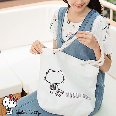 野餐系列~KITTY印圖麻繩帆布包-OB大尺碼