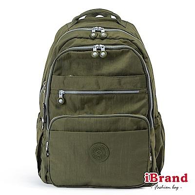 iBrand後背包 經典百搭超輕盈多口袋後背包(大)-森林綠