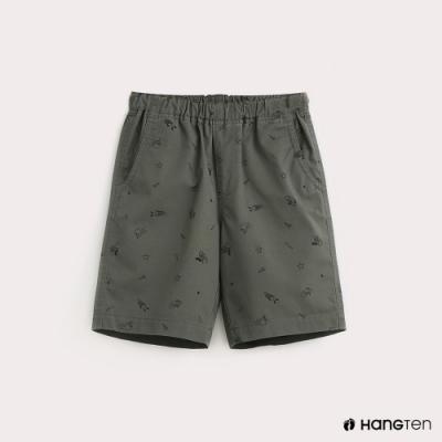 Hang Ten-童裝滿版印花休閒短褲-綠