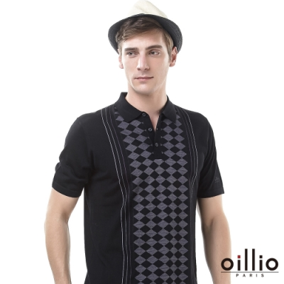 oillio歐洲貴族 短袖紳士休閒款線衫 穩重穿搭 菱形格紋 超柔天絲棉 黑色