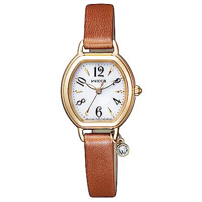 WICCA星辰晶鑽真皮手錶(KP2-523-10)-白X金框/24mm
