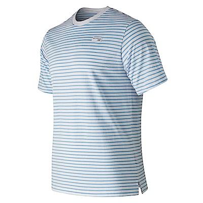 New Balance復古小Logo條紋短袖T恤AMT91561SSY_中性淺藍