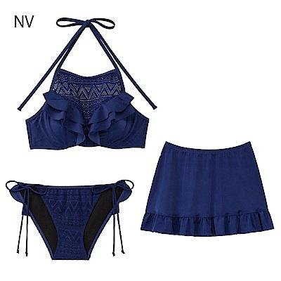 aimerfeel 蕾絲高領3件式泳衣-海軍藍