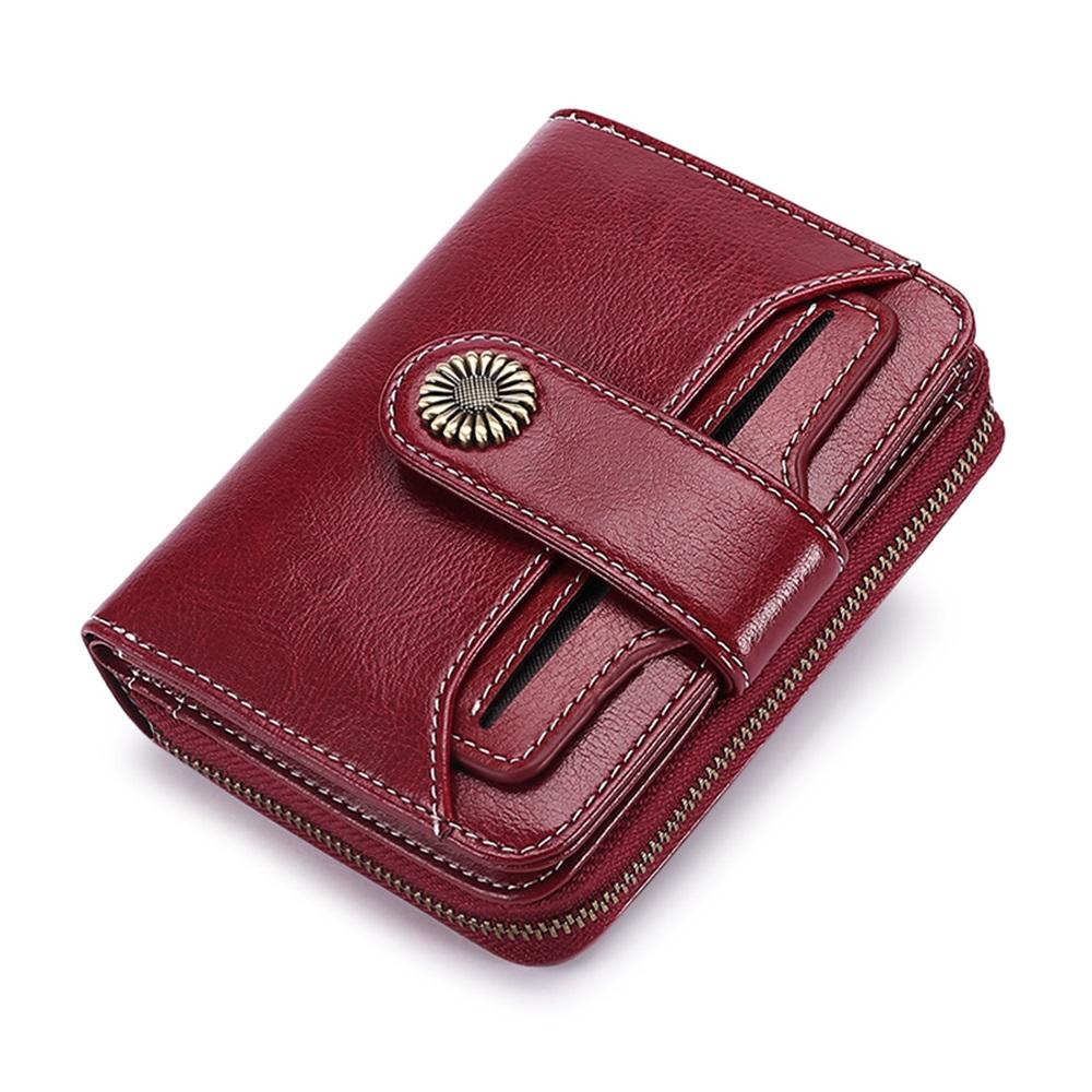 玩皮工坊-真皮油蠟牛皮復古女士皮夾皮包錢包短夾女夾-LH148