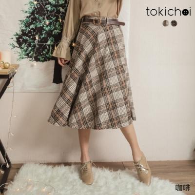 東京著衣 知性可愛百搭格紋附皮帶磨毛傘裙