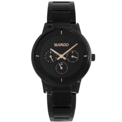 MANGO 簡約質感三眼時尚手錶-黑/36mm