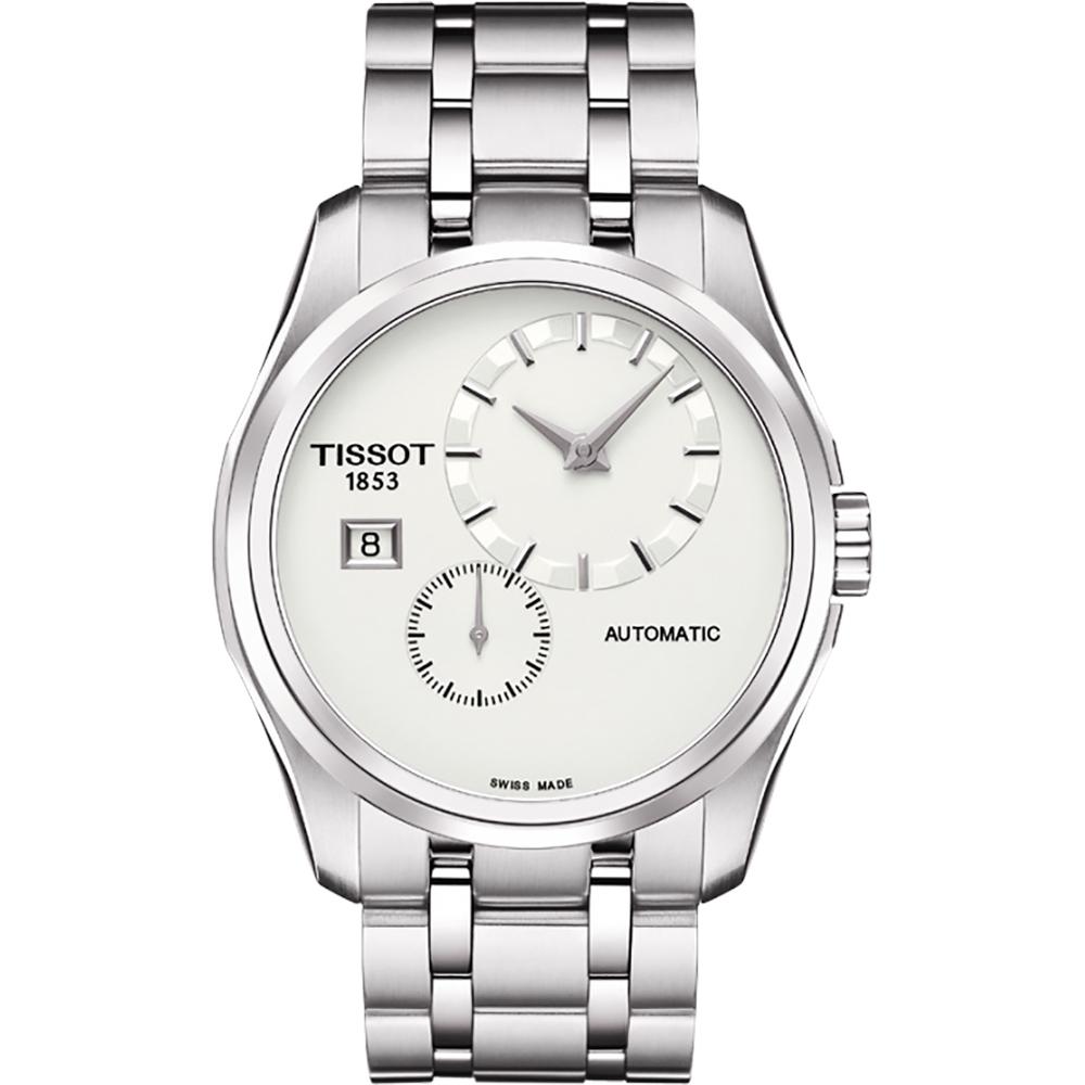 TISSOT Couturier 建構師偏心系列機械腕錶-銀/39mm T0354281103100
