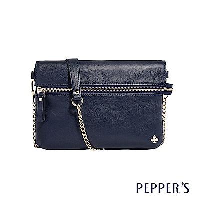 PEPPER`S  Ellie 羊皮拉鍊小斜背包 - 神秘藍