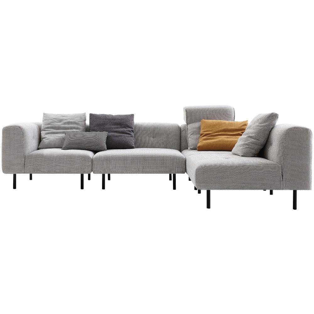 文創集 雷蒙北歐灰亞麻布L型沙發組合(四人座+貴妃椅凳)-300x200x73cm免組